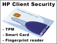 HP Client Security featuring TPM, Smart Card reader and fingerprint reader