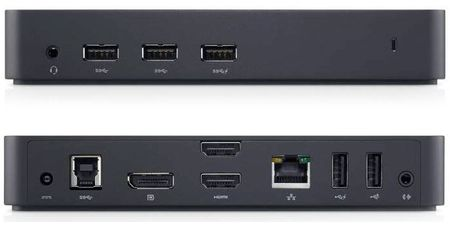 USB 3.0 Triple-Monitor Dock - Front and Rear