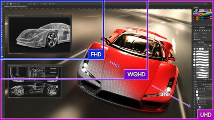 Proportional sizes of UHD, WQHD vs FHD monitor resolution