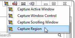 Capture IQ: Capture Region title bar menu